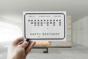 Happy Space Invaders Birthday Postcard